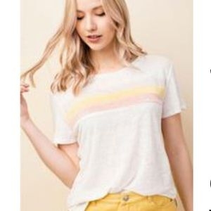 NWOT Honey Punch Retro Striped Linen T